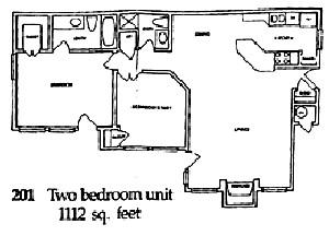 1,112 sq. ft. B1 floor plan