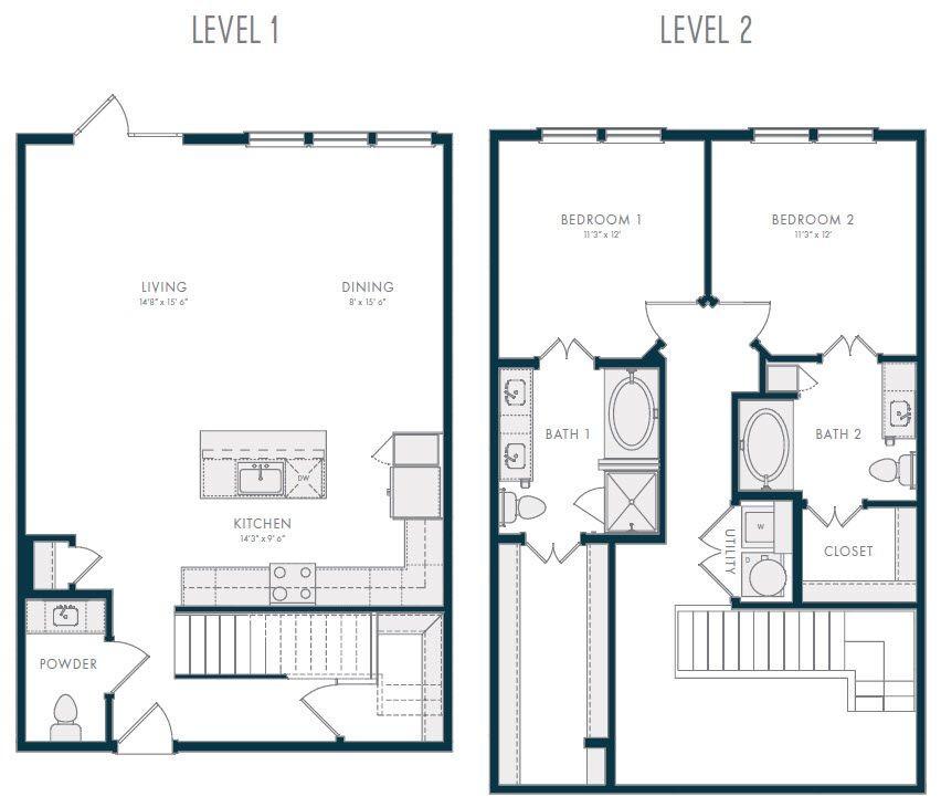 1,631 sq. ft. TH2 floor plan