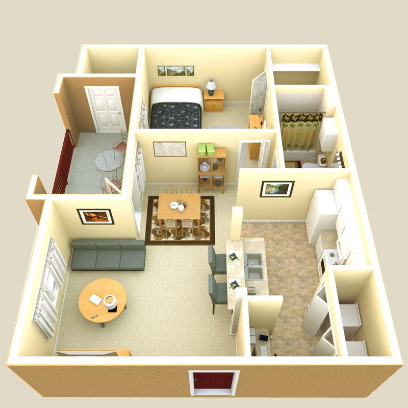 640 sq. ft. Villa floor plan