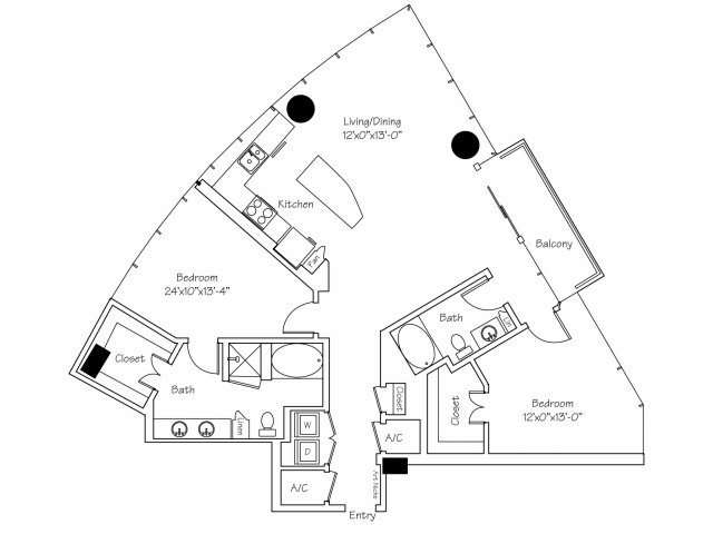 1,454 sq. ft. B6 floor plan