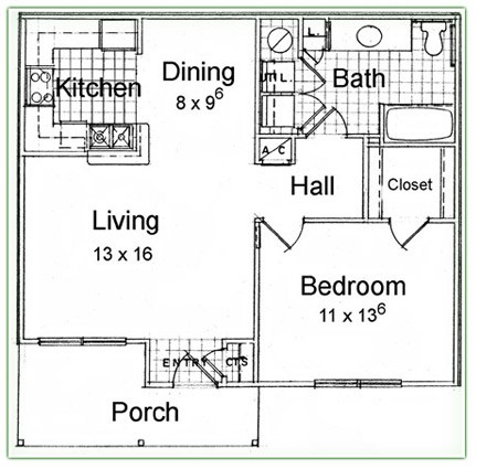 754 sq. ft. A floor plan