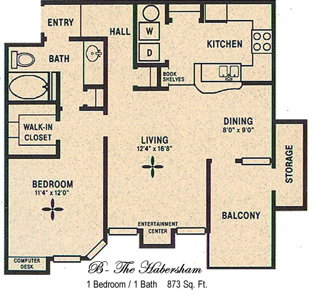 873 sq. ft. B/Habersham floor plan