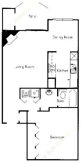 534 sq. ft. A2 floor plan