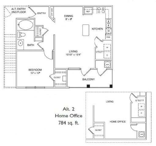 784 sq. ft. A1H floor plan