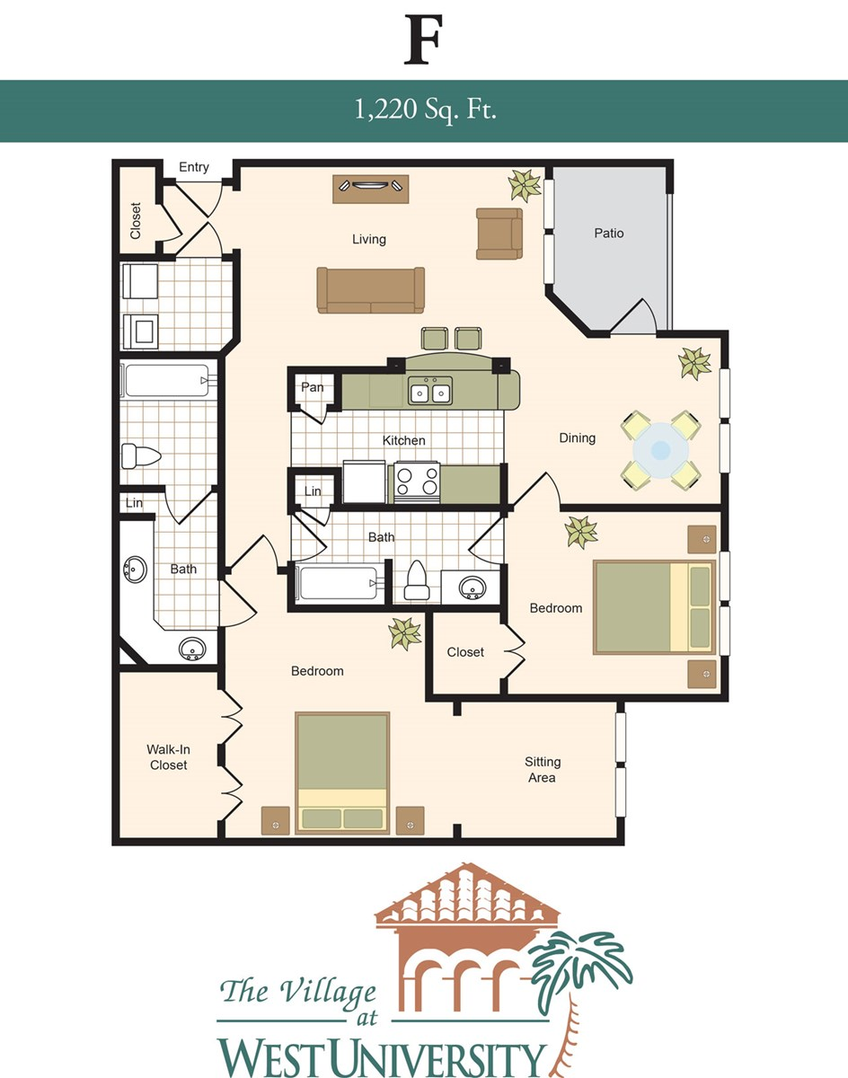 1,220 sq. ft. F floor plan