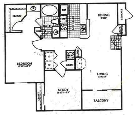 1,027 sq. ft. A3 floor plan
