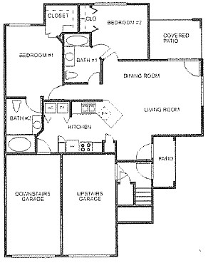 1,000 sq. ft. to 1,020 sq. ft. floor plan