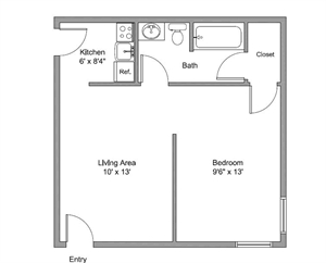 390 sq. ft. Pioneer floor plan