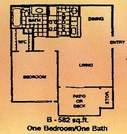 582 sq. ft. B floor plan