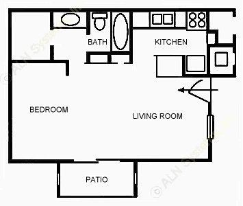 483 sq. ft. A1 floor plan