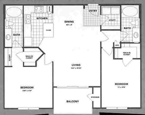 1,080 sq. ft. B6 floor plan