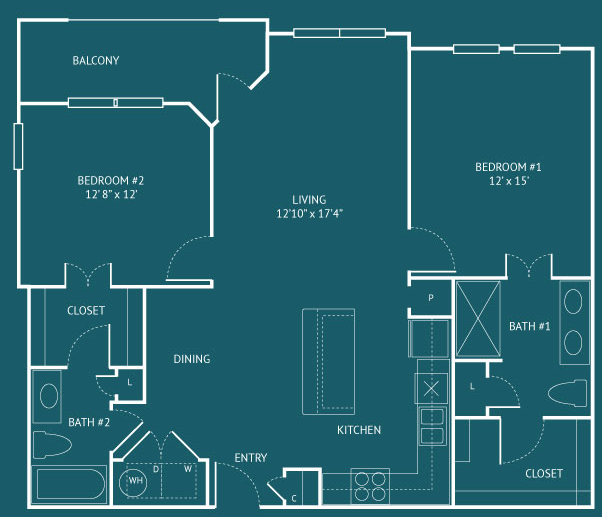 1,143 sq. ft. B5 floor plan