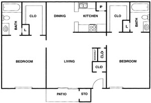 950 sq. ft. B floor plan