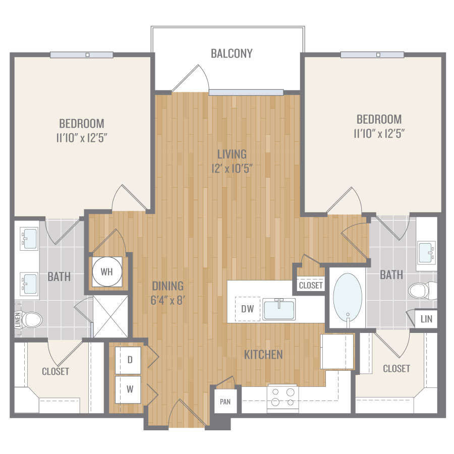 1,042 sq. ft. B1 floor plan