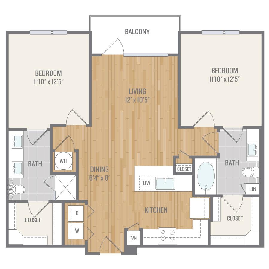 1,042 sq. ft. B1 floor plan