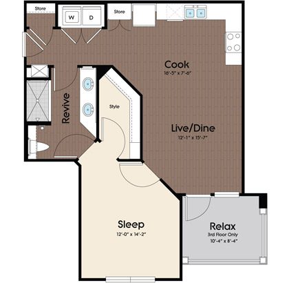 745 sq. ft. Cyan floor plan