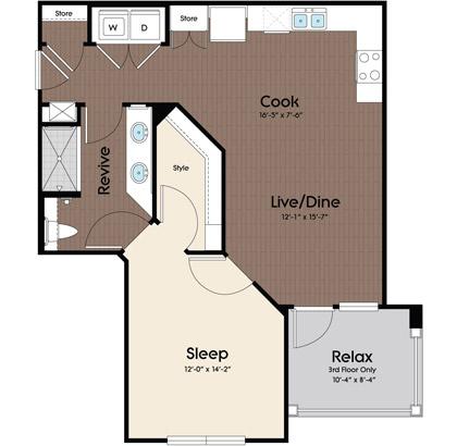 745 sq. ft. Azul floor plan
