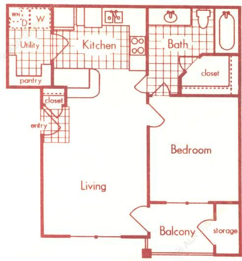 659 sq. ft. A-1 floor plan