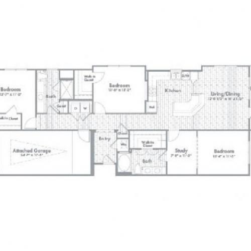 1,607 sq. ft. C1 floor plan