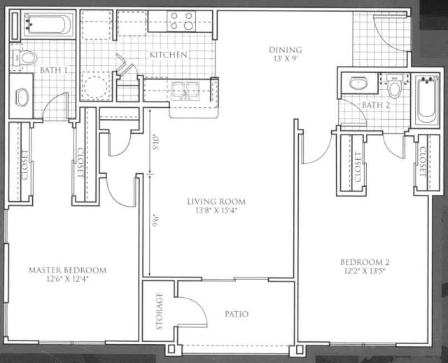 1,084 sq. ft. Inverness floor plan