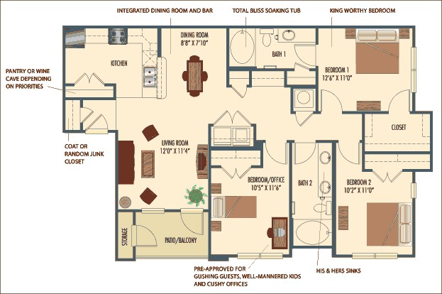 1,250 sq. ft. Palmero floor plan