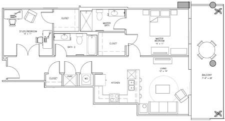 1,250 sq. ft. W floor plan