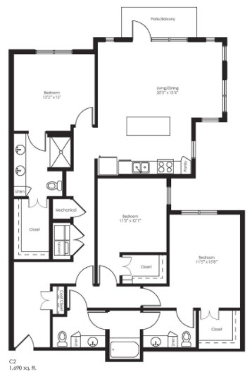1,690 sq. ft. C2 floor plan