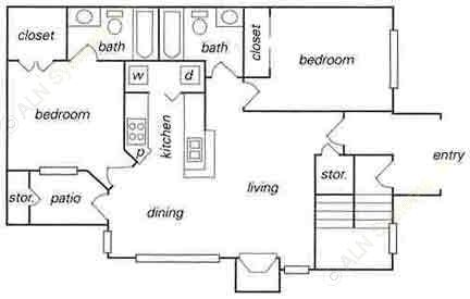 902 sq. ft. B1 floor plan