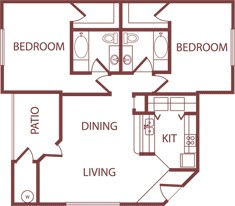 1,111 sq. ft. B1 floor plan