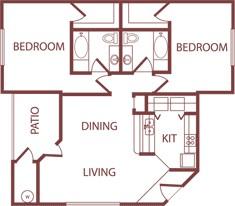 1,111 sq. ft. B1 floor plan