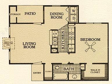687 sq. ft. C w/FP floor plan