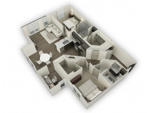 1,385 sq. ft. B8 floor plan