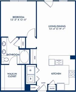 848 sq. ft. Blackstone floor plan