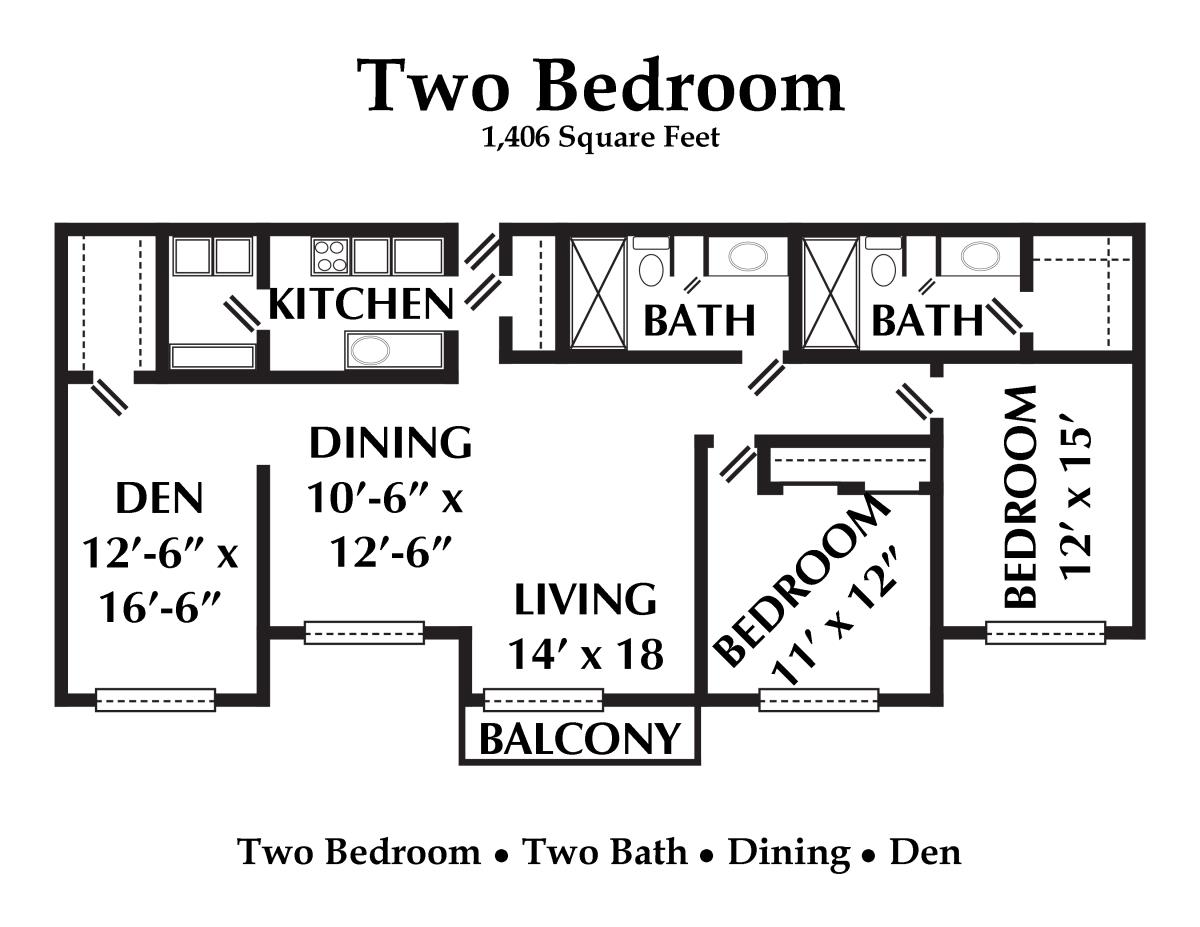 1,406 sq. ft. floor plan
