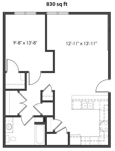 830 sq. ft. 60% floor plan