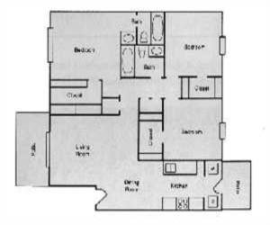 1,116 sq. ft. C1 floor plan