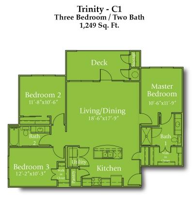1,249 sq. ft. Brazos/60% floor plan