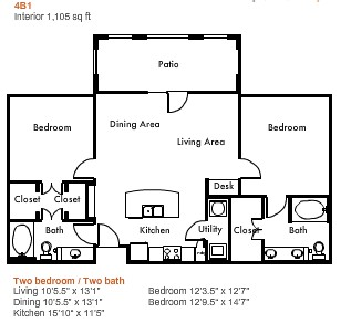 1,105 sq. ft. to 1,325 sq. ft. 4B1 floor plan