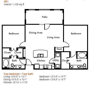 1,105 sq. ft. to 1,325 sq. ft. 4B1 floor plan
