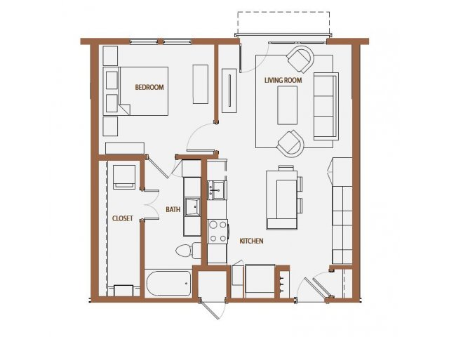 729 sq. ft. A2-2 floor plan