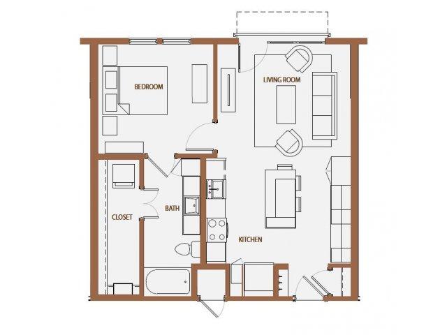 729 sq. ft. A2-2 floor plan