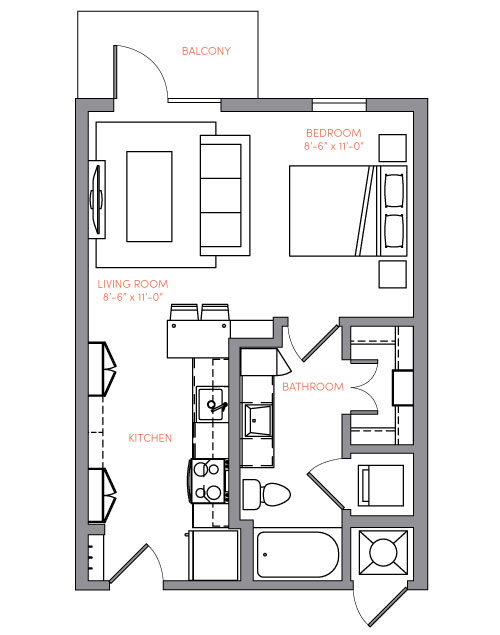 516 sq. ft. S1A.1 floor plan