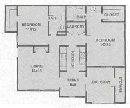 958 sq. ft. B2 floor plan