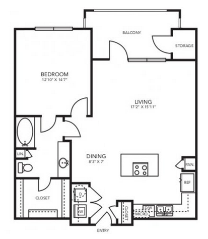 869 sq. ft. A3 floor plan
