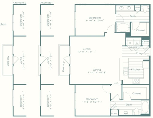 1,227 sq. ft. B4 floor plan