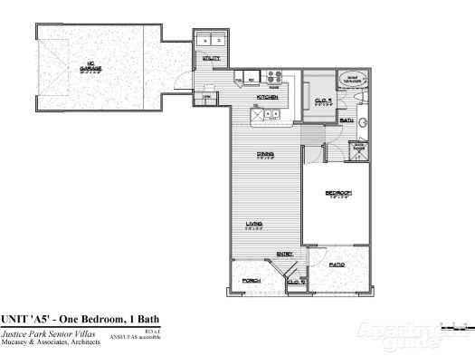 819 sq. ft. A5 60% floor plan