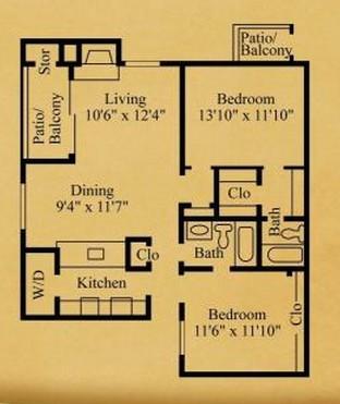 919 sq. ft. B-2 floor plan