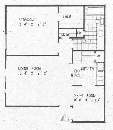 651 sq. ft. A1 floor plan