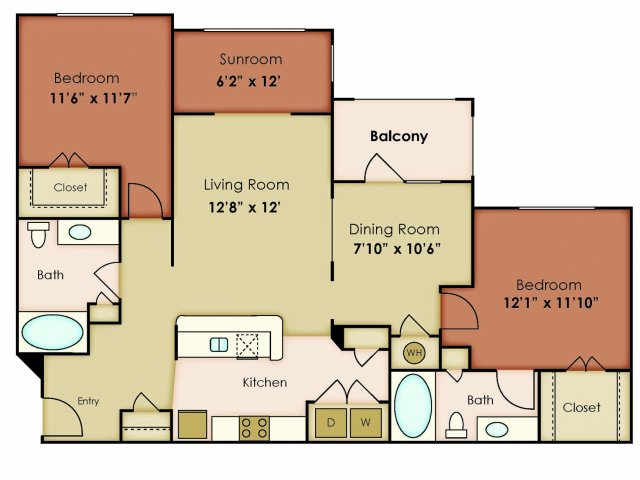 1,243 sq. ft. SERENITY floor plan