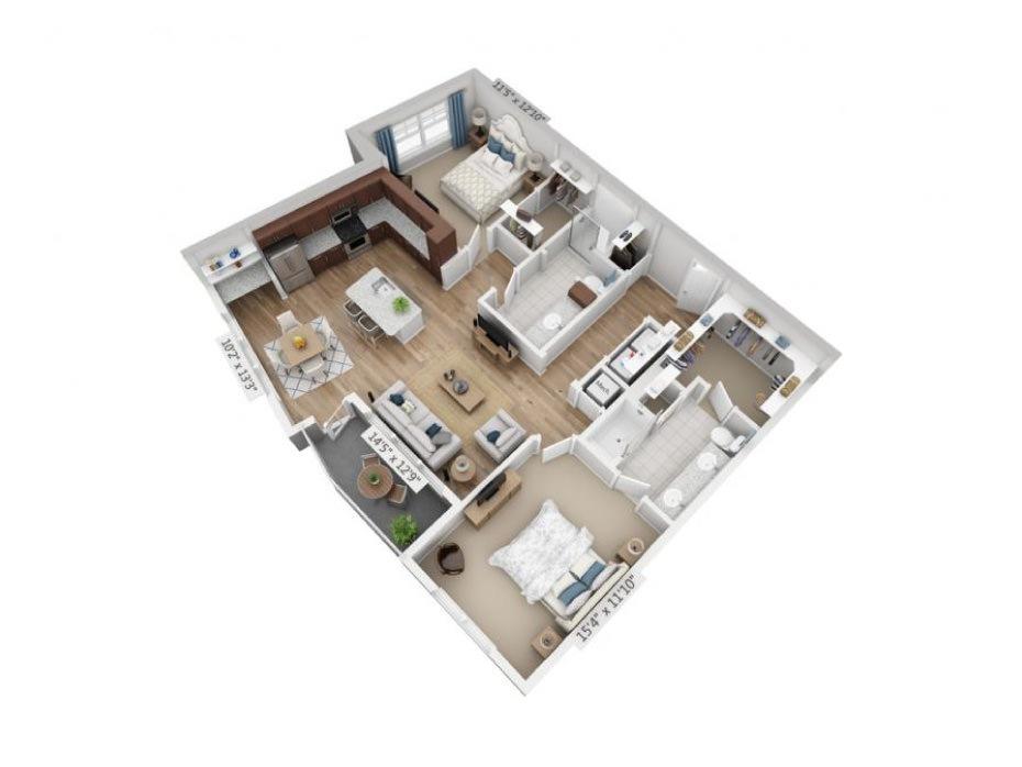 1,240 sq. ft. B6 floor plan